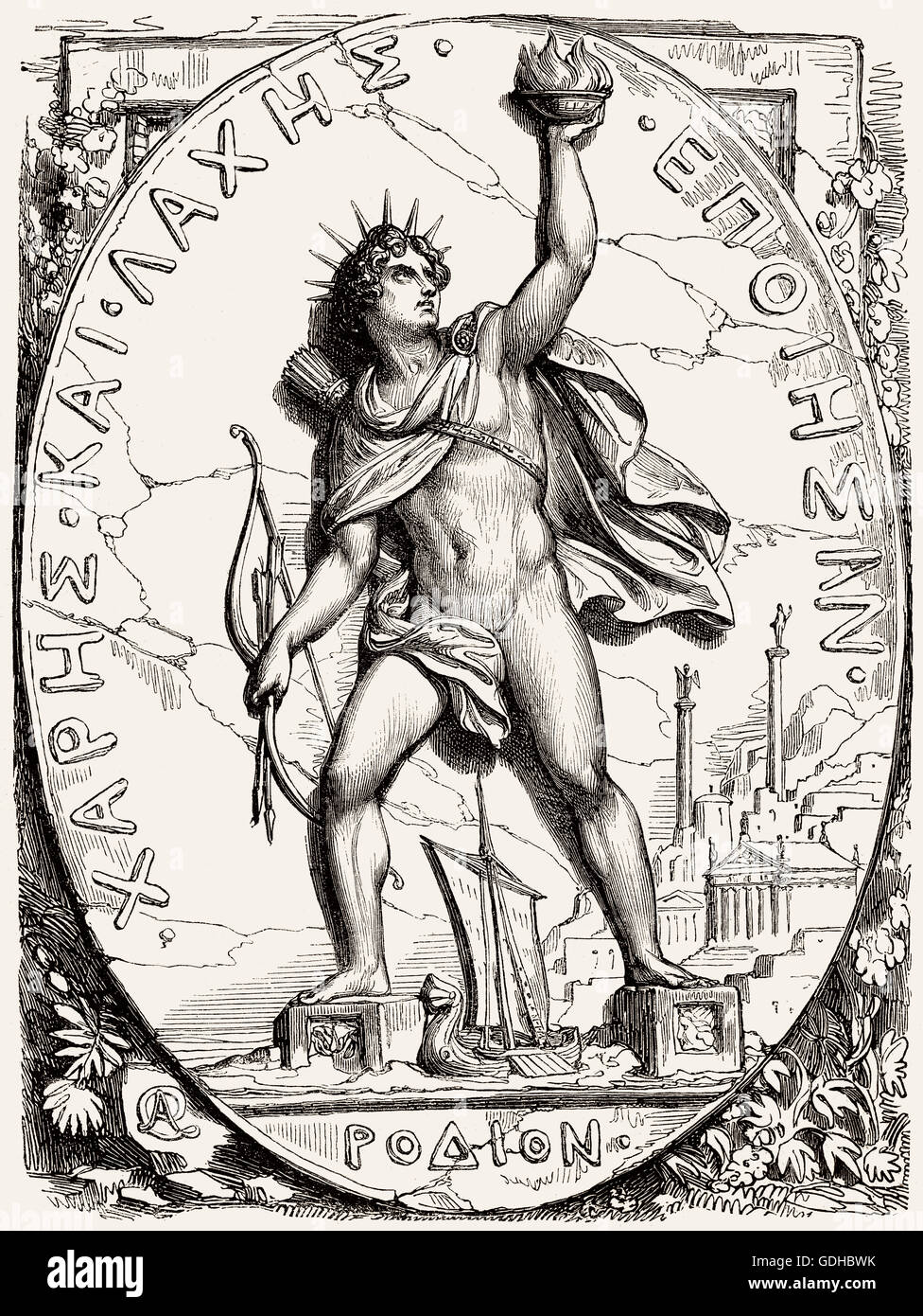 The Colossus of Rhodes, a statue of the Greek titan-god of the sun Helios, erected in 280 BC - Stock Image