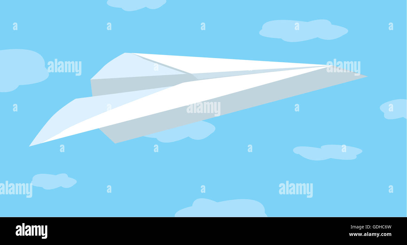 Cartoon illustration of folded paper plane flying among clouds - Stock Image