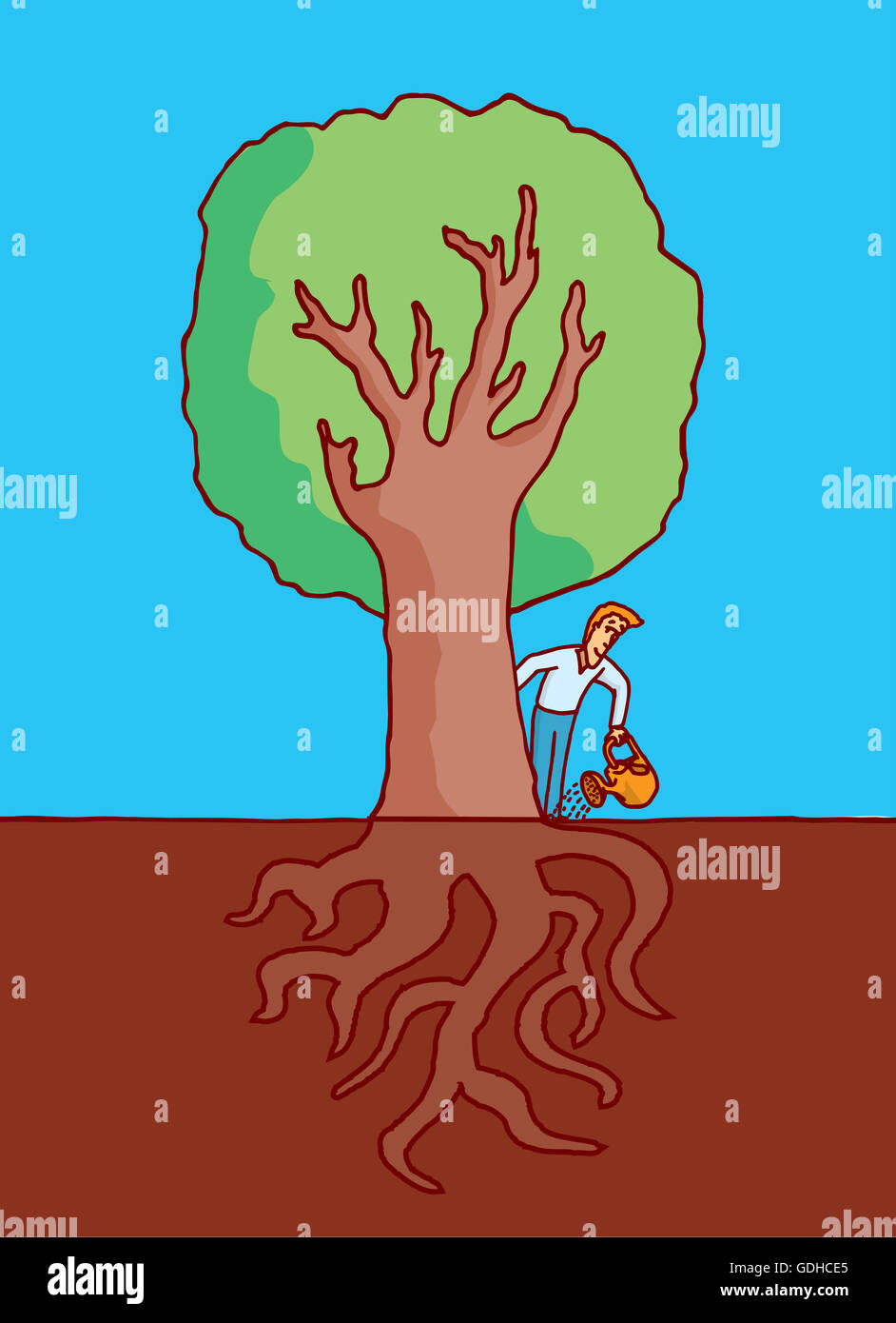 Cartoon Illustration Of Man Watering A Big Tree With Roots Under Stock Photo Alamy 50,000+ vectors, stock photos & psd files. https www alamy com stock photo cartoon illustration of man watering a big tree with roots under ground 111635725 html