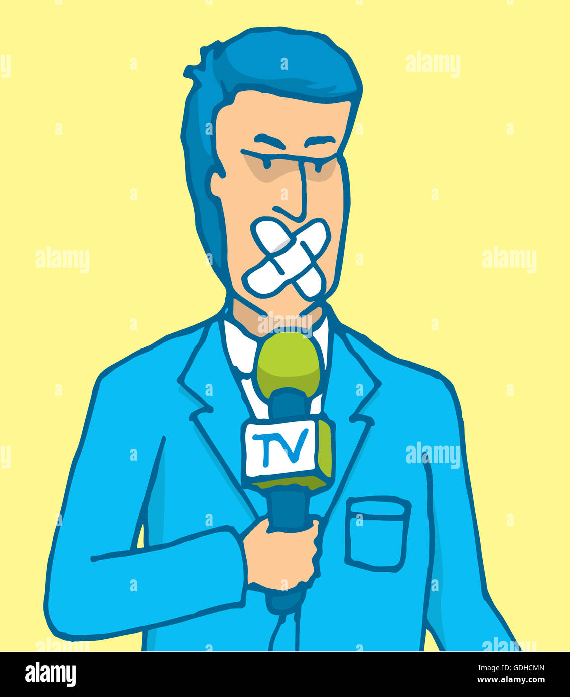 Cartoon illustration of censored reporter with microphone and patch on his mouth - Stock Image
