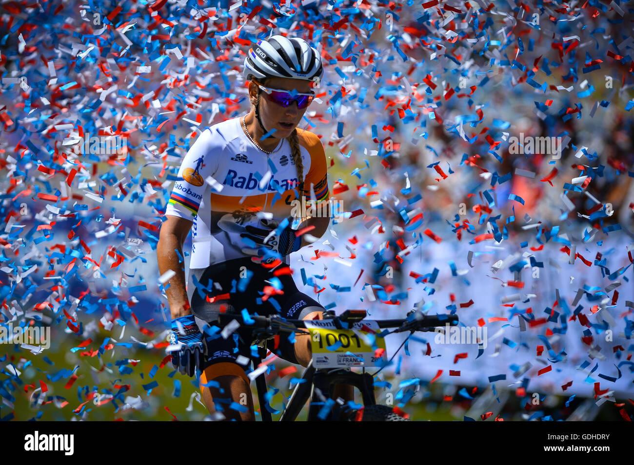 Montgenevre, France. 16th July, 2016. French mountain bike championship 2016. Women finish line FERRAND PREVOT Pauline - Stock Image
