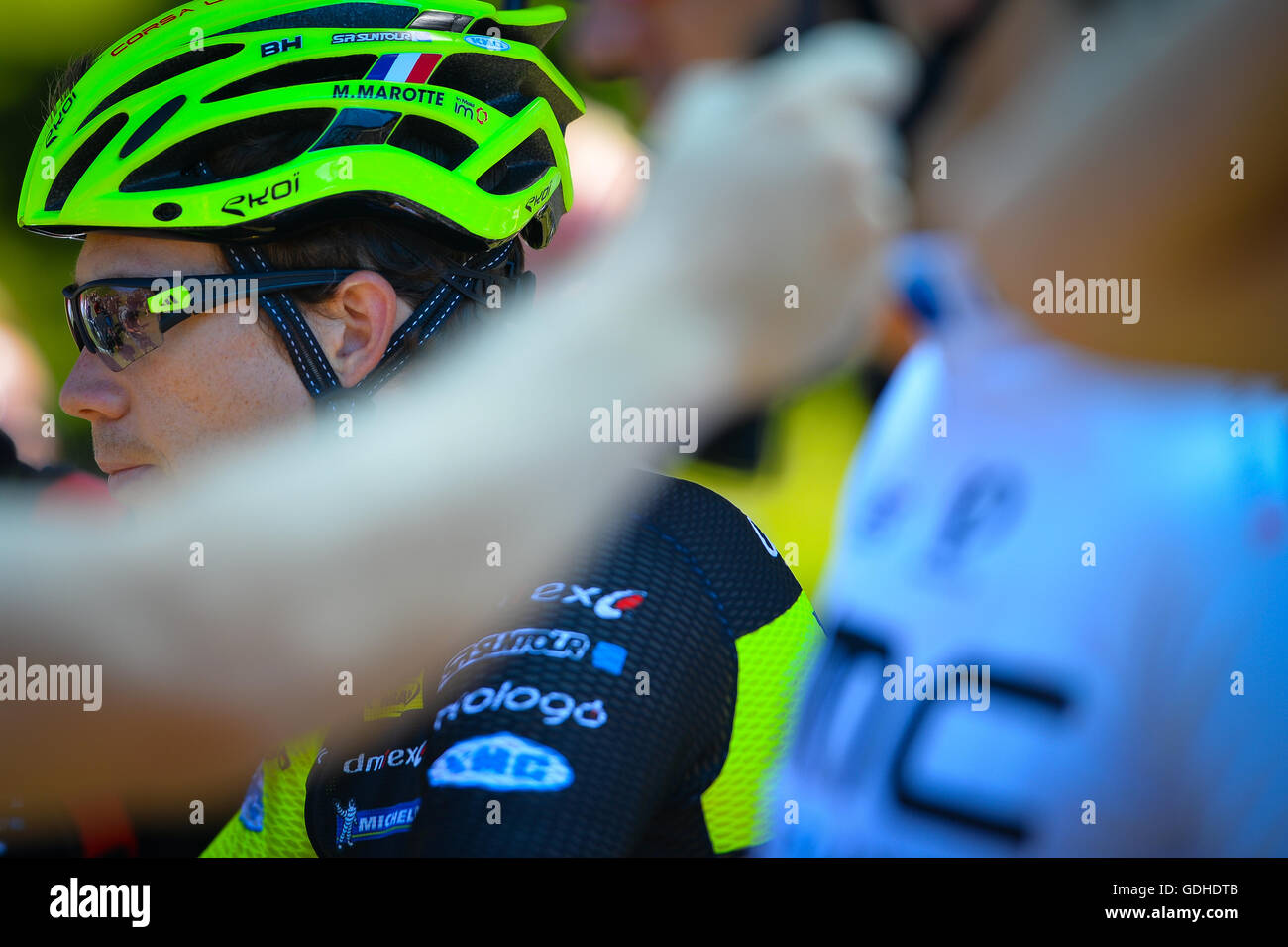 Montgenevre, France. 16th July, 2016. French mountain bike championship 2016. Men starting line CAROD Titouan. Credit: - Stock Image