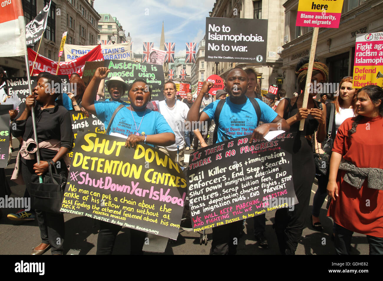 London, UK. 16th July, 2016: Movement of Justice members seen taking part in the People's demonstration. Hundreds - Stock Image