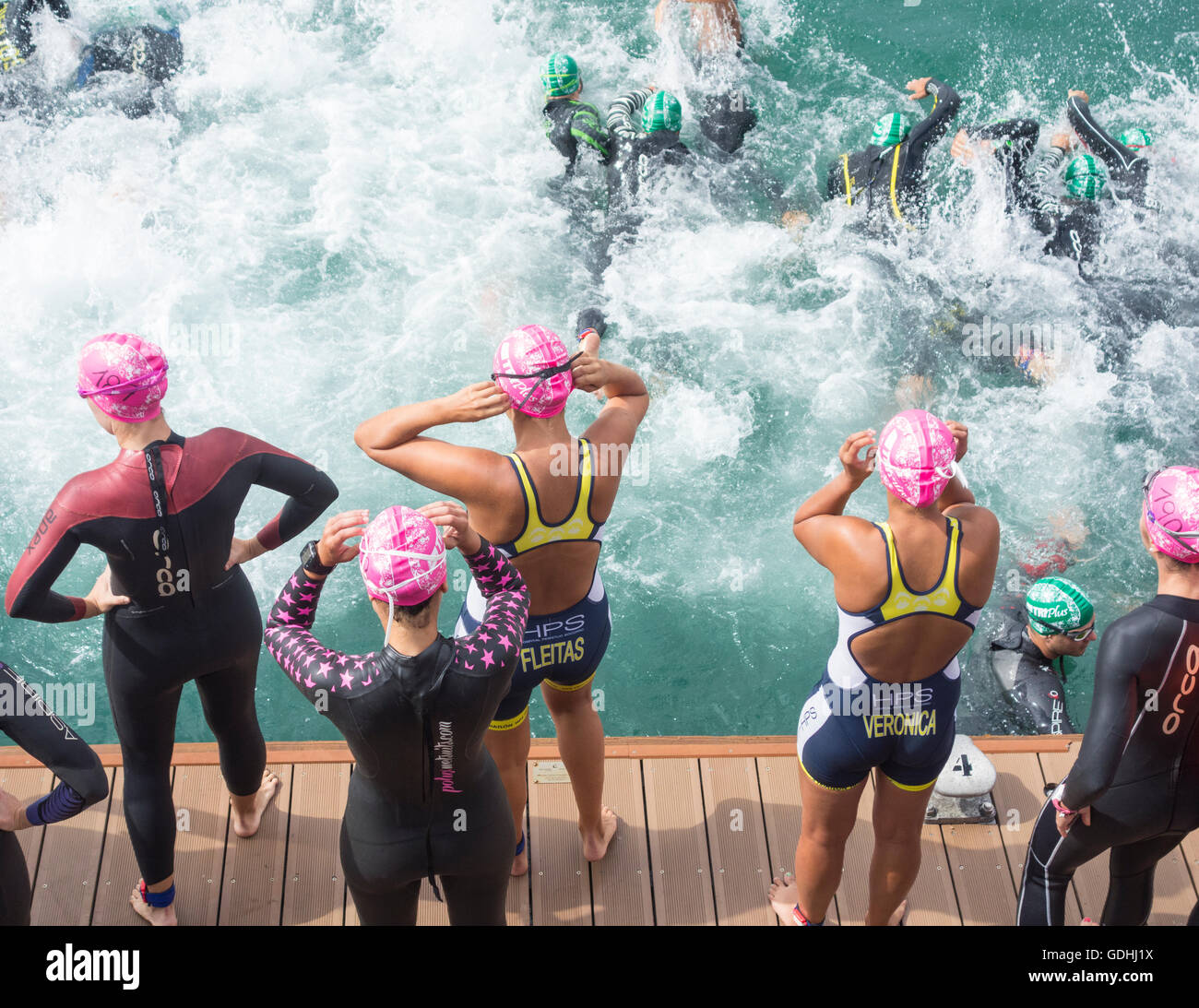 Las Palmas, Gran Canaria, Canary Islands, Spain. 17th July, 2016. Start of the 1500m swim in the Atlantic Ocean - Stock Image
