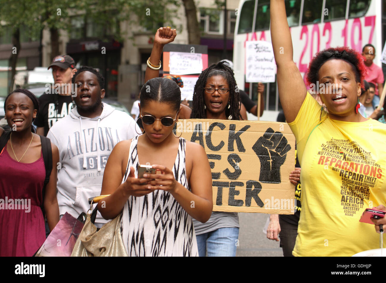 London, UK. 17th July, 2016.: Black Lives Matter protesters took to Oxford Street for a solidarity march for Mzee - Stock Image