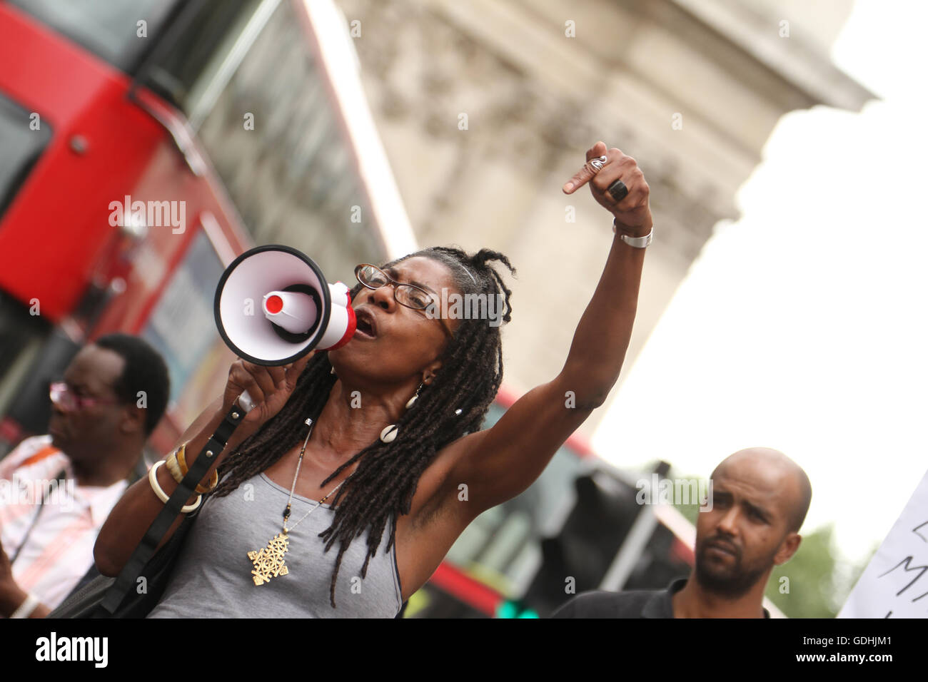 London, UK. 17th July 2016 : Marcia Rigg sister to Sean Riggs who died in police custody speaks through a mega phone - Stock Image