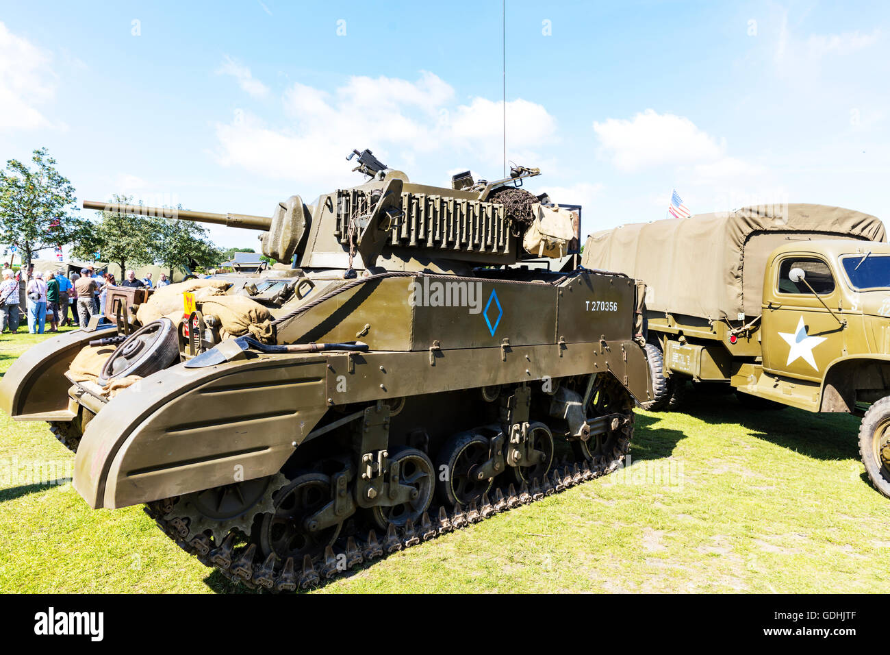 WW2 tank US USA army vehicle machine 1940's Weekend at Woodhall Spa Lincolnshire UK England on 17/07/2016 The - Stock Image