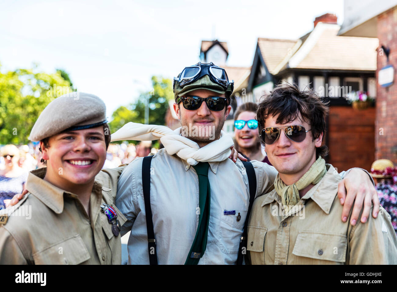 3 friends pals buddies work mates pilots US air force crew 1940's style dress uniform uniforms goggles biggles - Stock Image