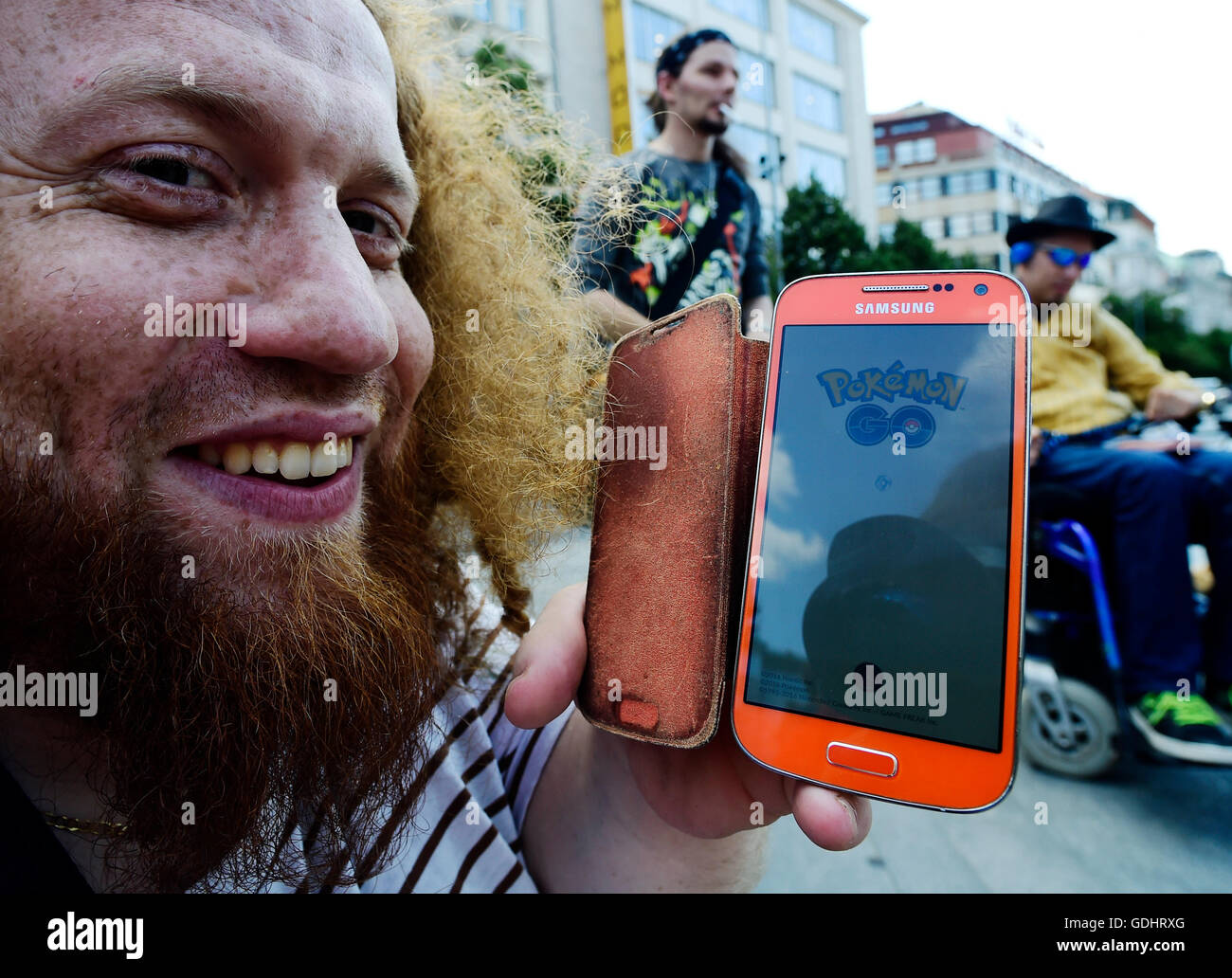 Prague, Czech Republic. 16th July, 2016. About 200 Pokemon Go location based app gamers meet at Prague's Wenceslas Stock Photo