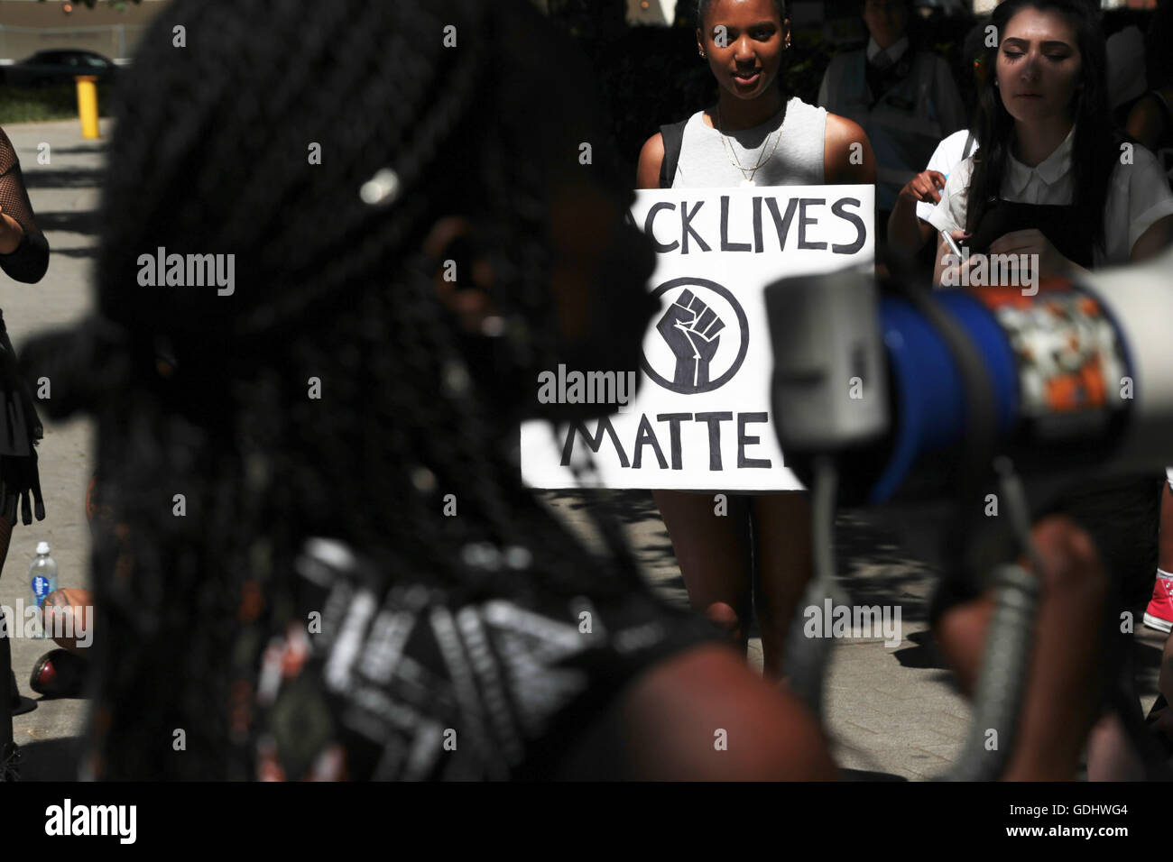 London, UK. 18th July, 2016. Demonstrators protest the shooting of African Americans and deaths in police custody - Stock Image
