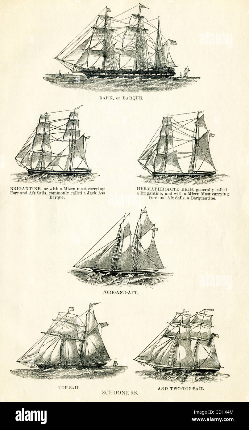 The vessels pictured in this 19th-century drawing are all schooners. From top to bottom, left to right, they are: - Stock Image