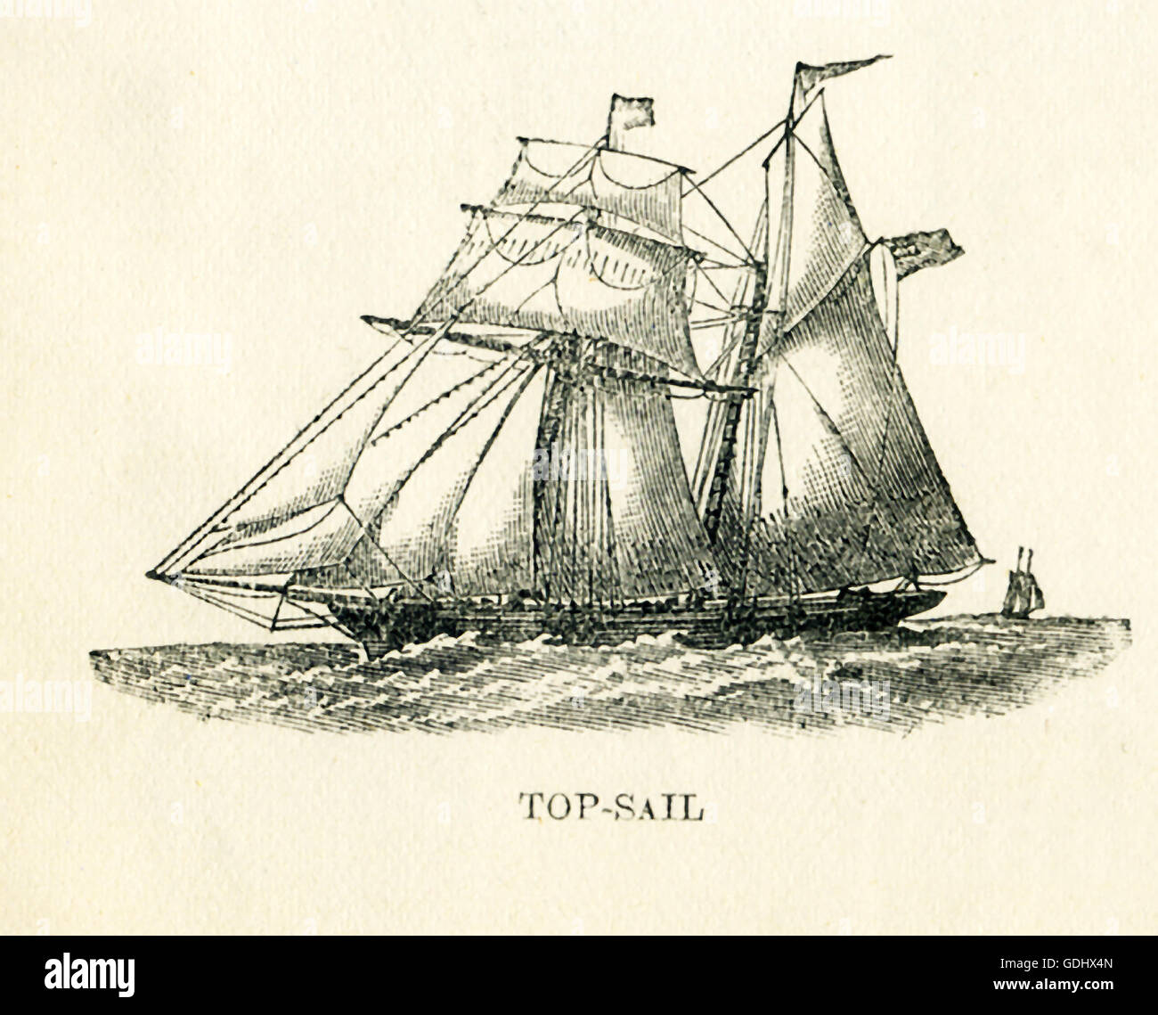 The vessel pictured in this 19th-century drawing is a schooner, specifically a top-sail. - Stock Image