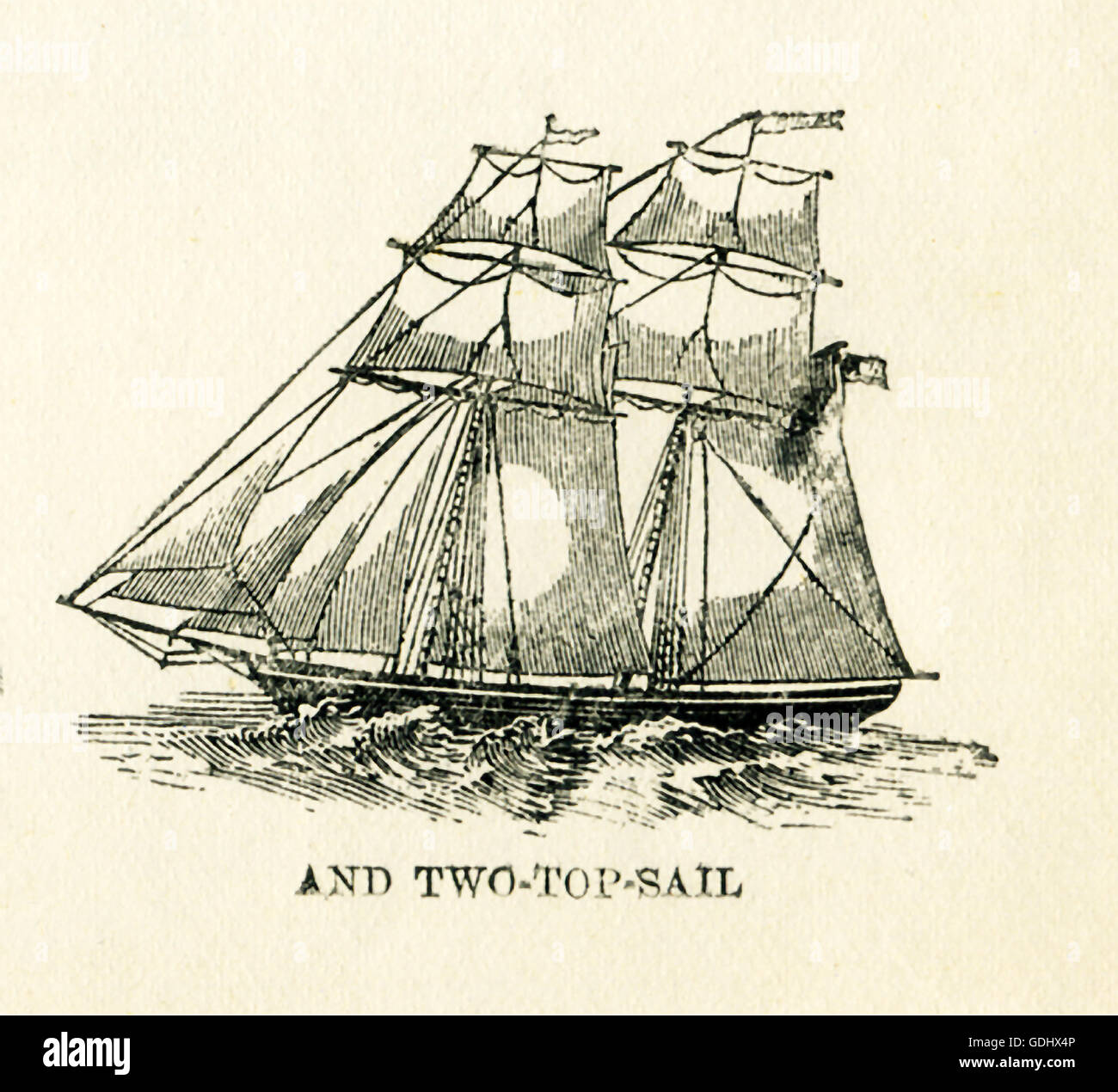 The vessel pictured in this 19th-century drawing is a schooner, specifically a two- top-sail. - Stock Image