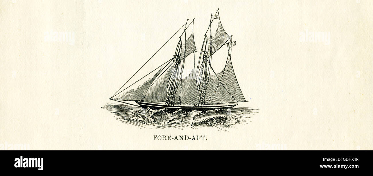 The vessel pictured in this 19th-century drawing is a schooner, specifically a fore-and-aft. - Stock Image