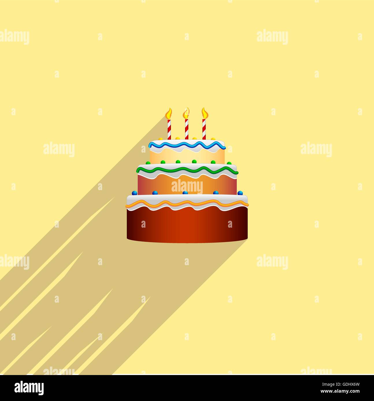 Colorful Birthday Cake In The Style Of A Flat Design Logo Icon