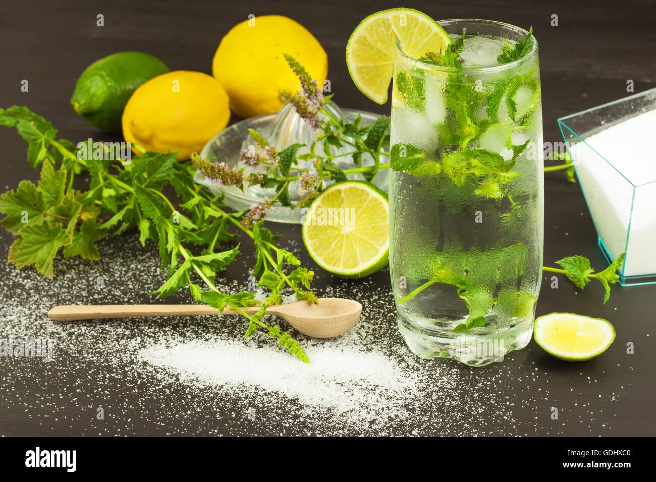 Homemade lemonade with fresh lemon and mint. Cool, refreshing dip in the hot summer. - Stock Image