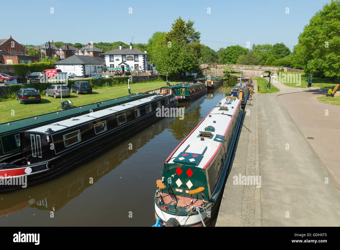 Narrow boats in the Canal Basin at Trevor, Llangollen Canal, near the Pontcysyllte Aqueduct, - Stock Image