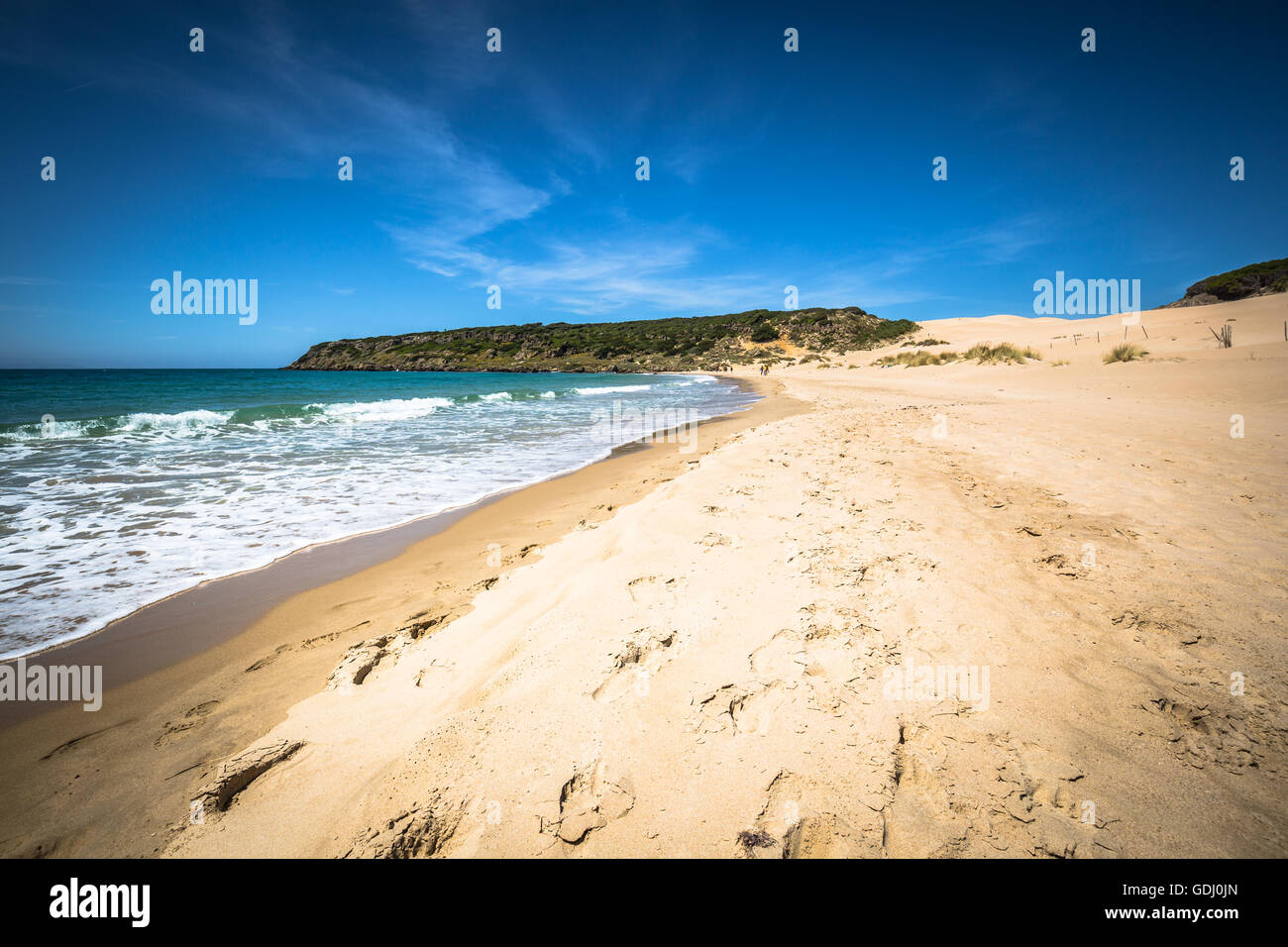 bolonia beach a coastal village in the municipality of Tarifa in the Province of Cadiz in southern Spain. Stock Photo
