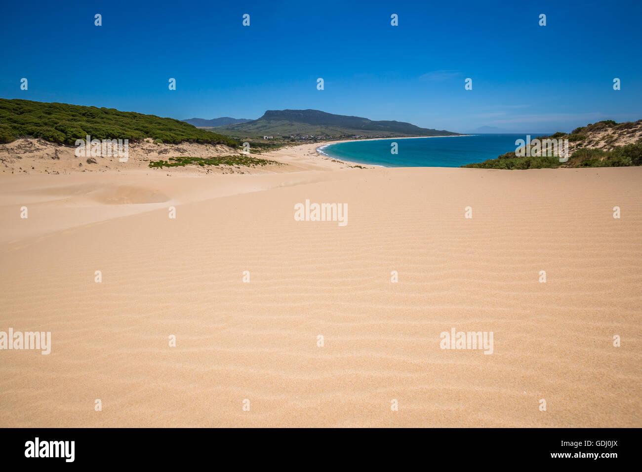 Sand dune of Bolonia beach, province Cadiz, Andalucia, Spain Stock Photo