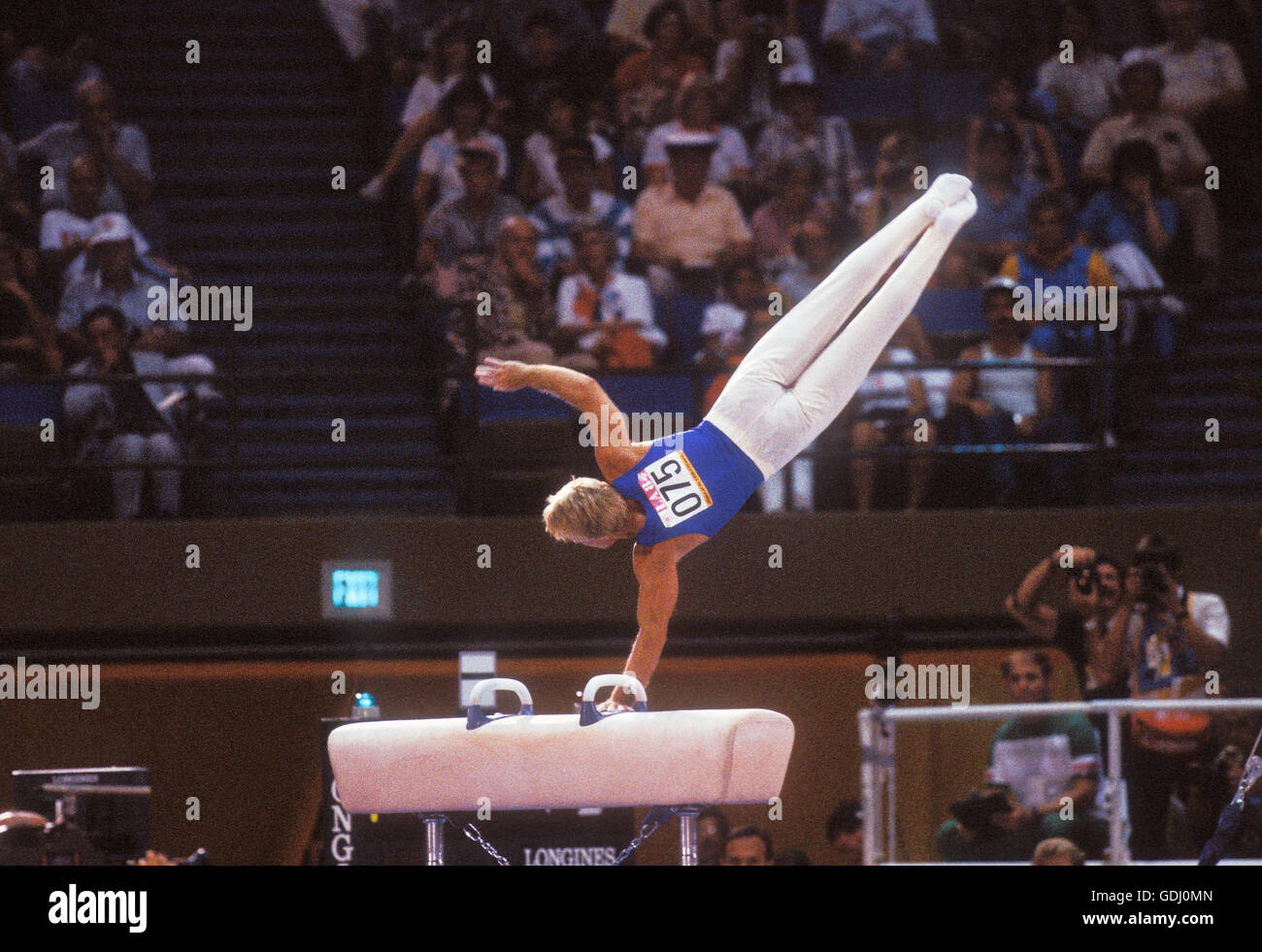 Bart Conner competing on pommel horse during 1984 Olympic Games in Los Angeles. - Stock Image