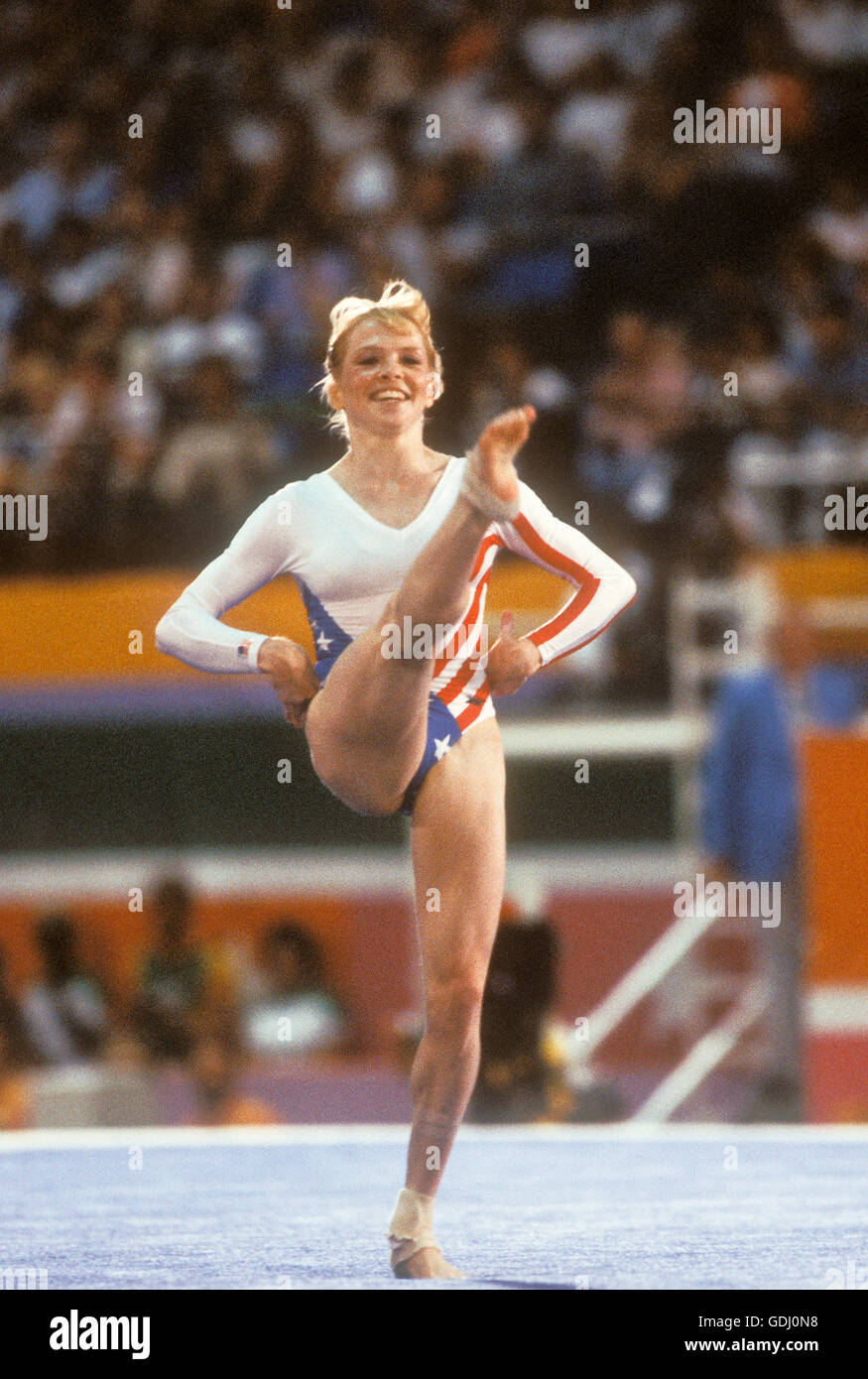 Julianne McNamara performs in floor exercise competition at 1984 Olympic Games in Los Angeles. - Stock Image