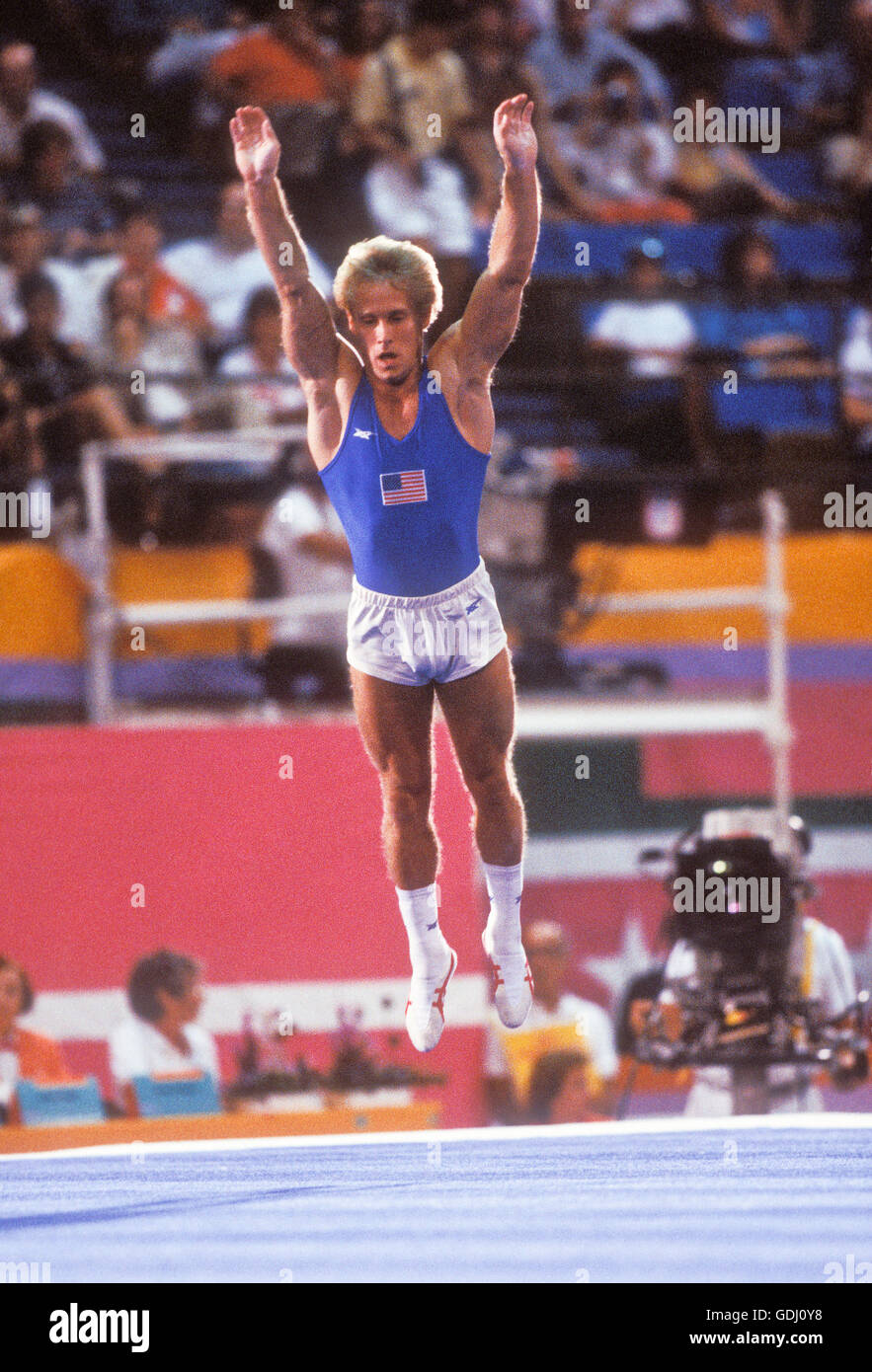 Bart Conner of USA performs on floor exercises at 1984 Olympic Games in Los Angeles. - Stock Image