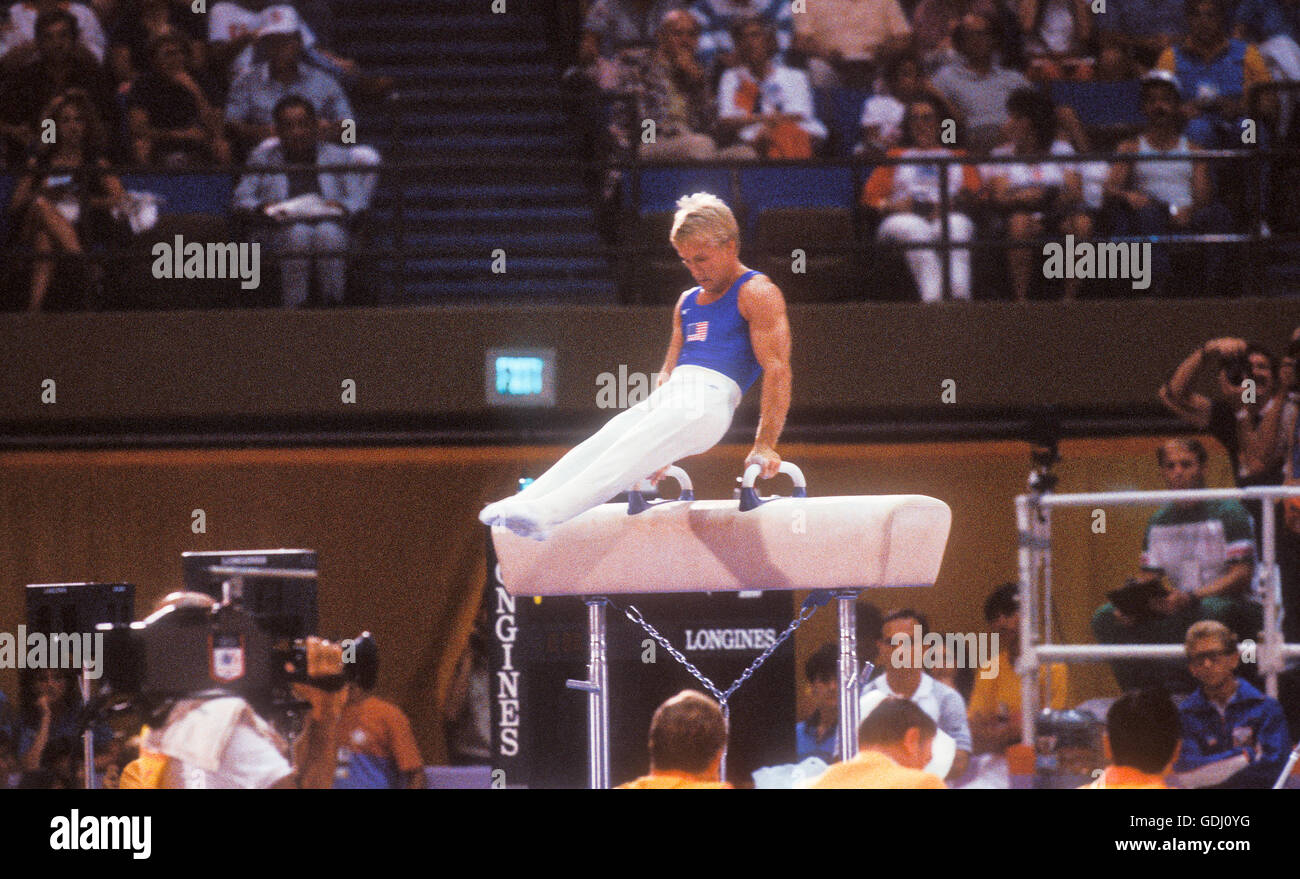 Bart Conner of USA performs on pommel horse at 1984 Olympic Games in Los Angeles. - Stock Image
