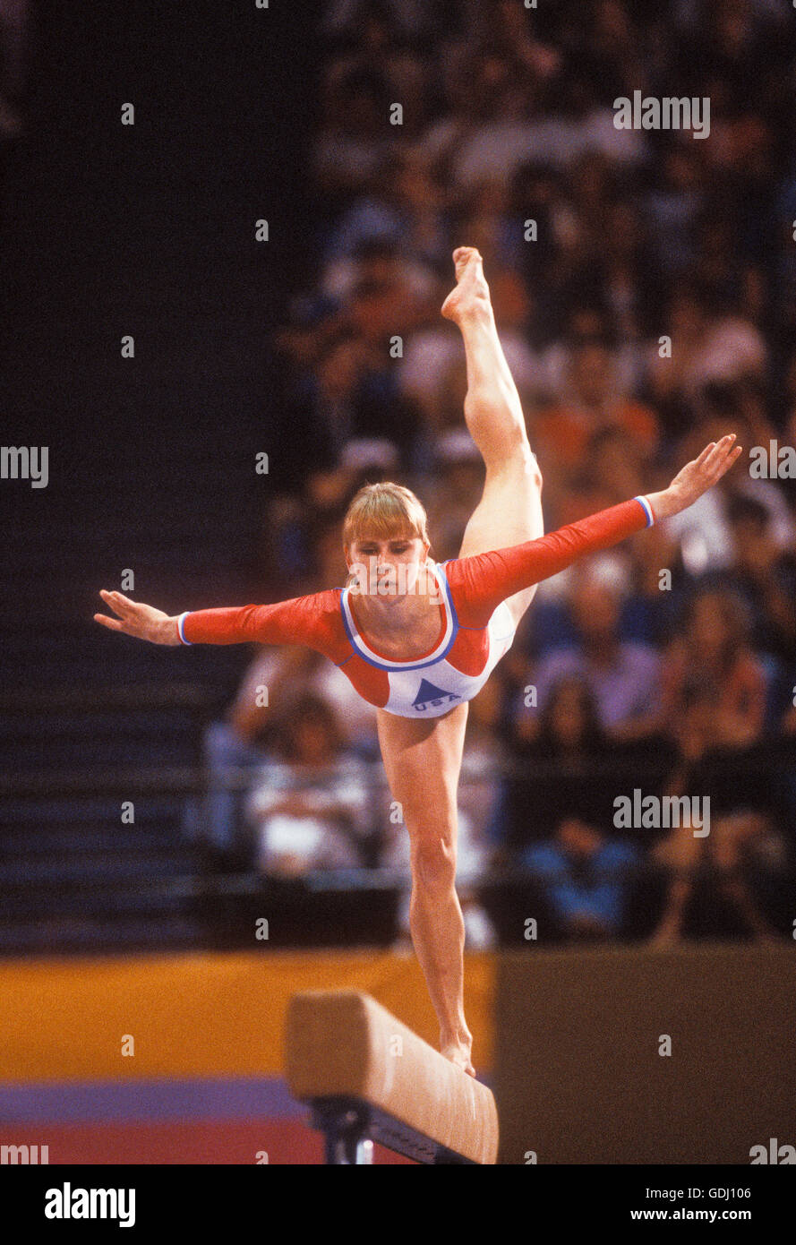 Kathy Johnson of USA performs on women's balance beam during competition at 1984 Olympic Games in Los Angeles. - Stock Image