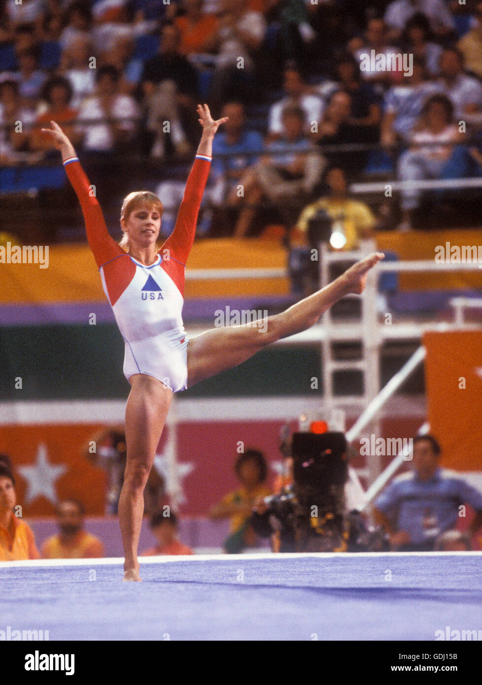 Kathy Johnson of USA performs floor exercises during competition at 1984 Olympic Games in Los Angeles. - Stock Image