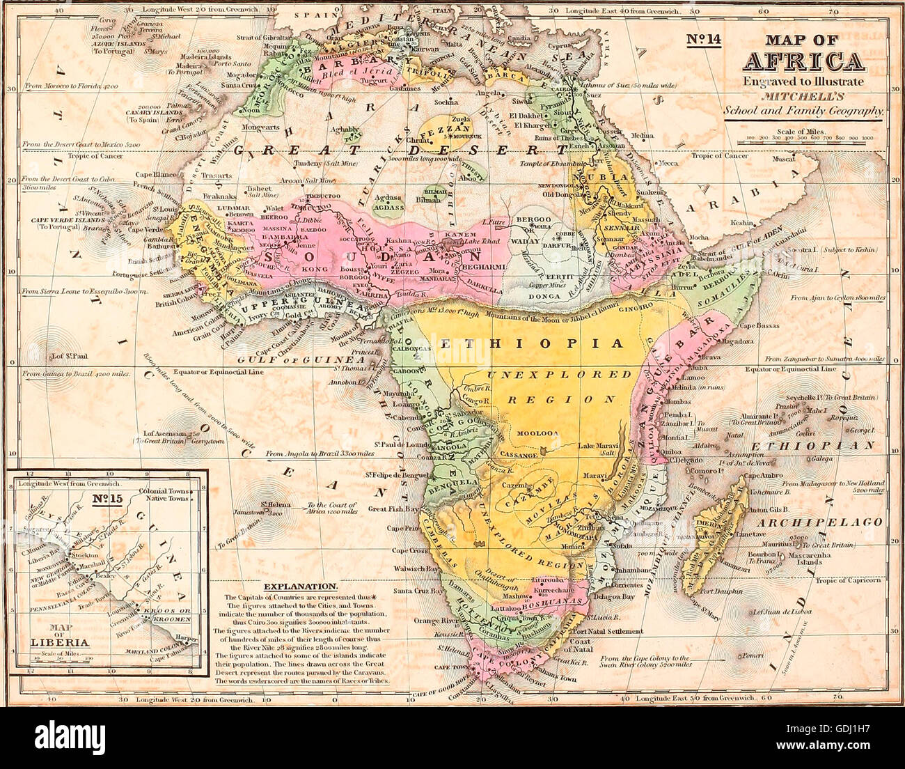 Map Of Africa 1850.Map Of Africa Circa 1850 Stock Photo 111649139 Alamy