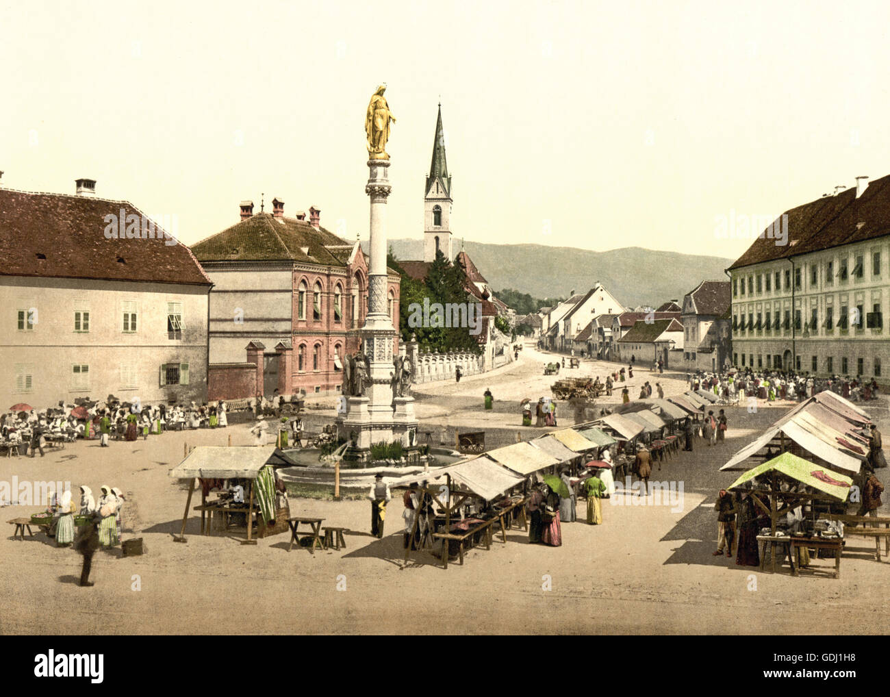 Agram, Capital Palace, with Maria Statue, by Fernkorn, Croatia, Austro-Hungary, circa 1900 - Stock Image