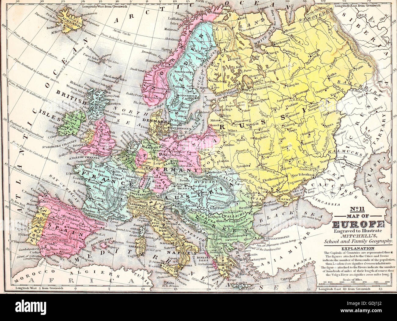 Map Of Europe Circa 1860 Stock Photo Alamy