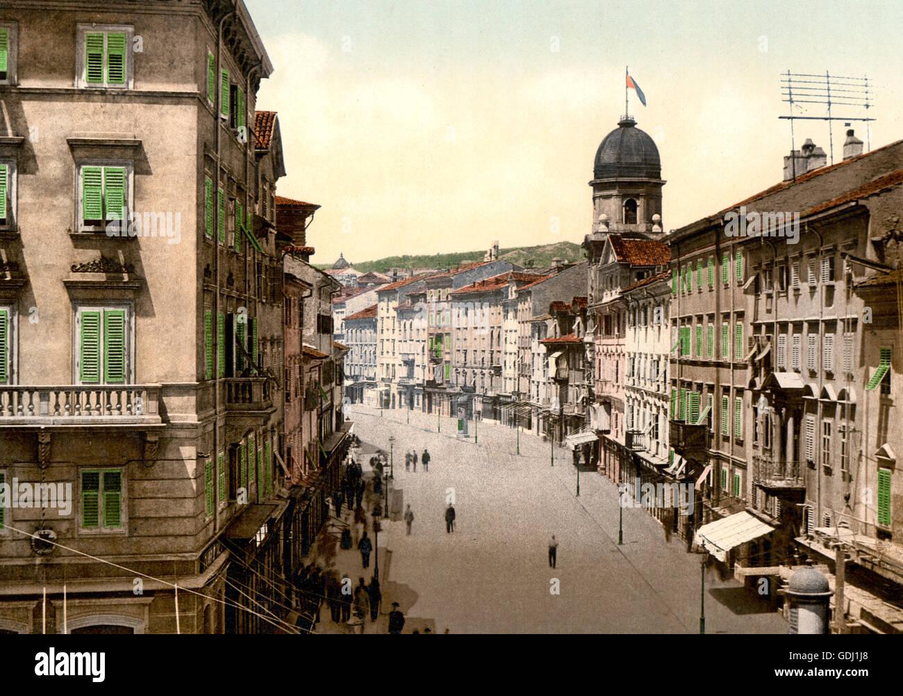Fiume, the Corso, Croatia, Austro-Hungary - Stock Image