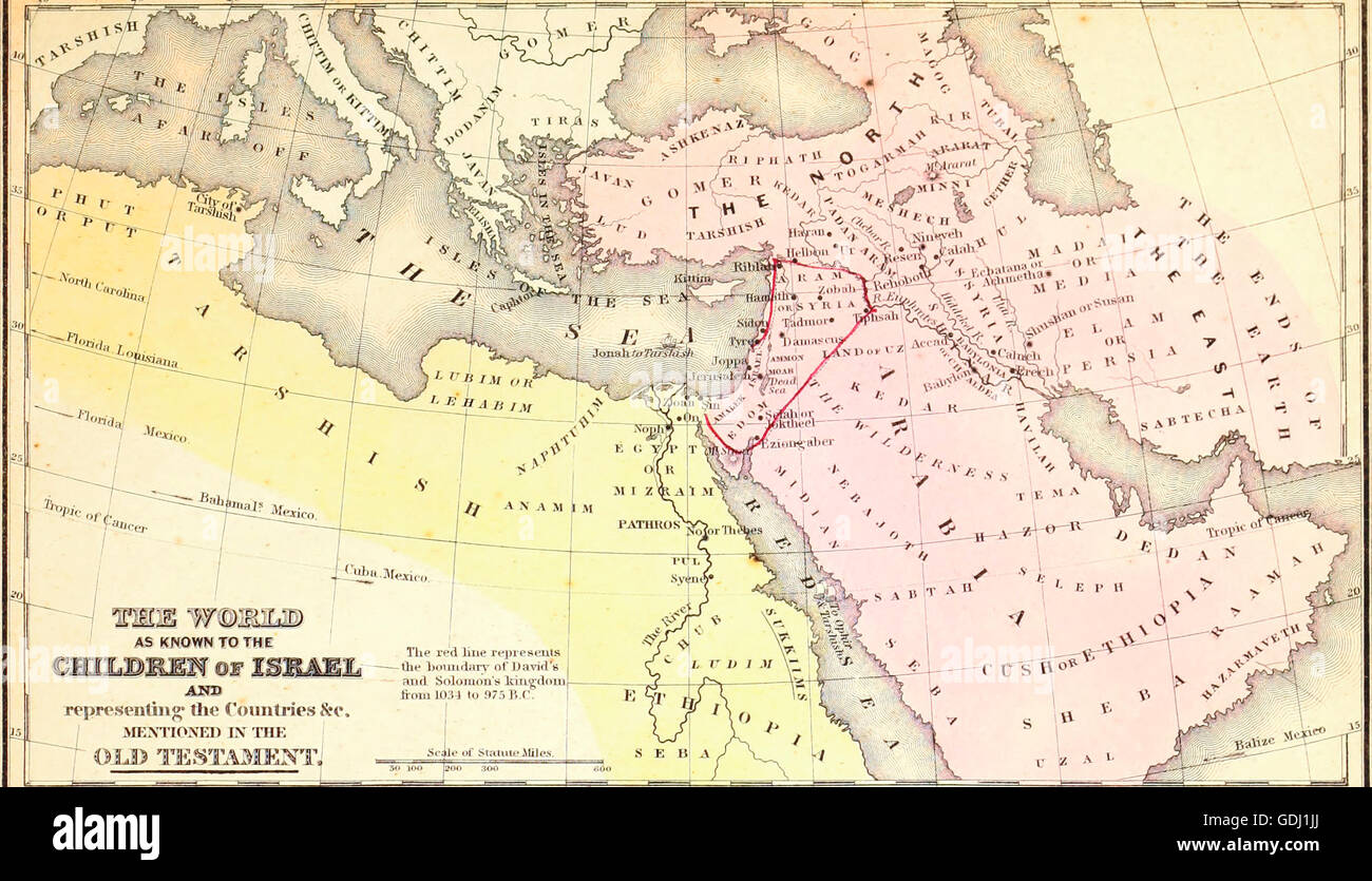 The World as known to the Children of Israel and representing the countries mentioned in the Old Testament - Stock Image