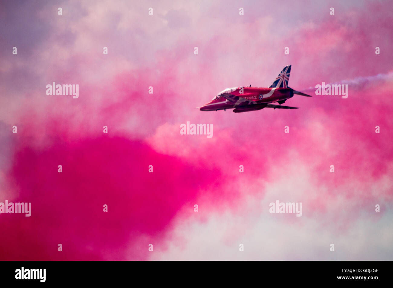 Red Arrows on Air Show in Farnborough UK - Stock Image