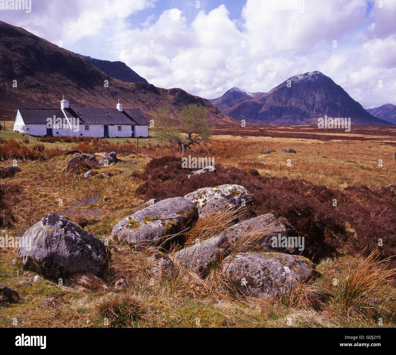 The Black croft with Buachaille Etive Mhor in view, Glencoe, West Highlands - Stock Image