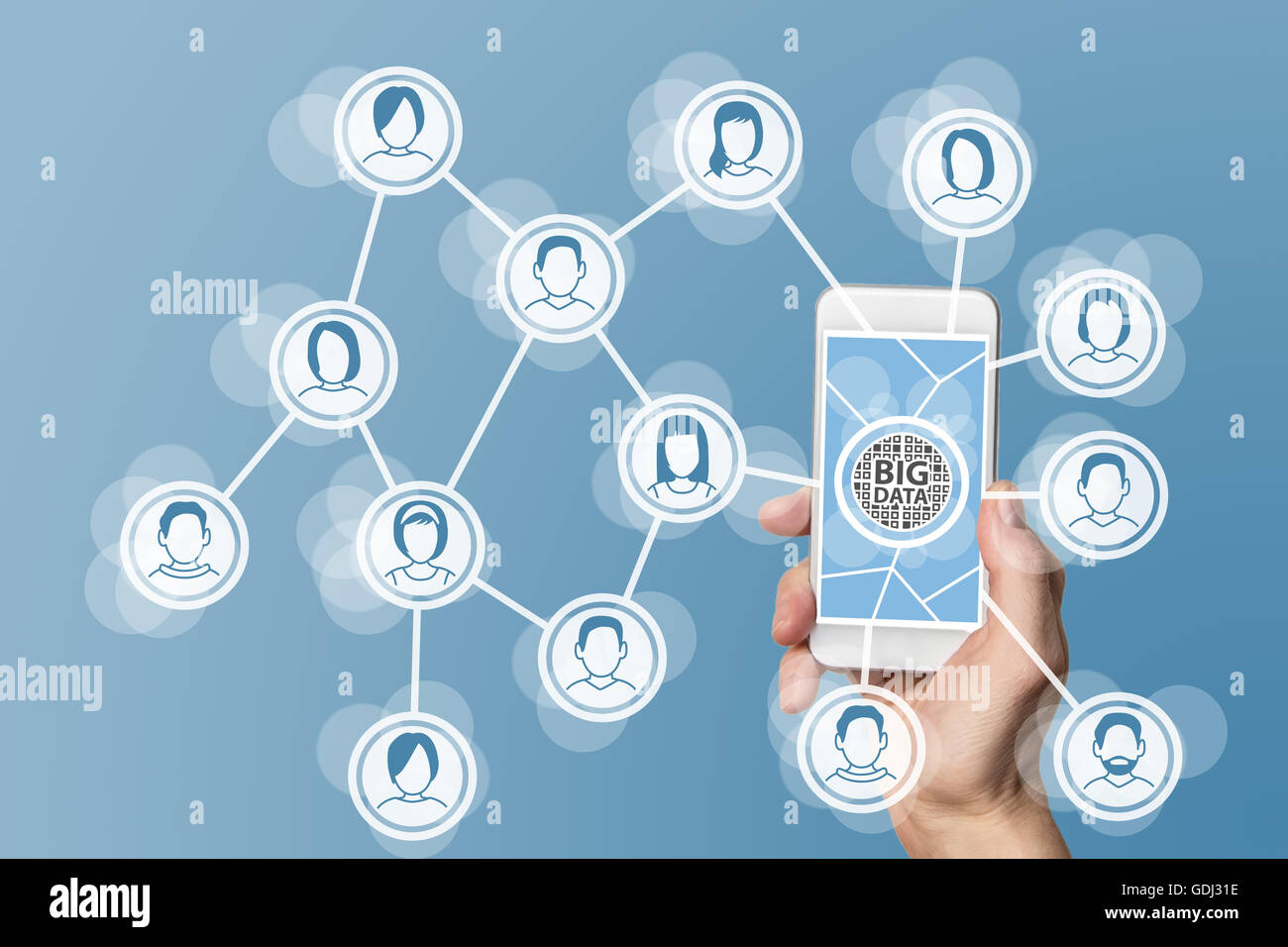 Big data concept to analyze social networks - Stock Image