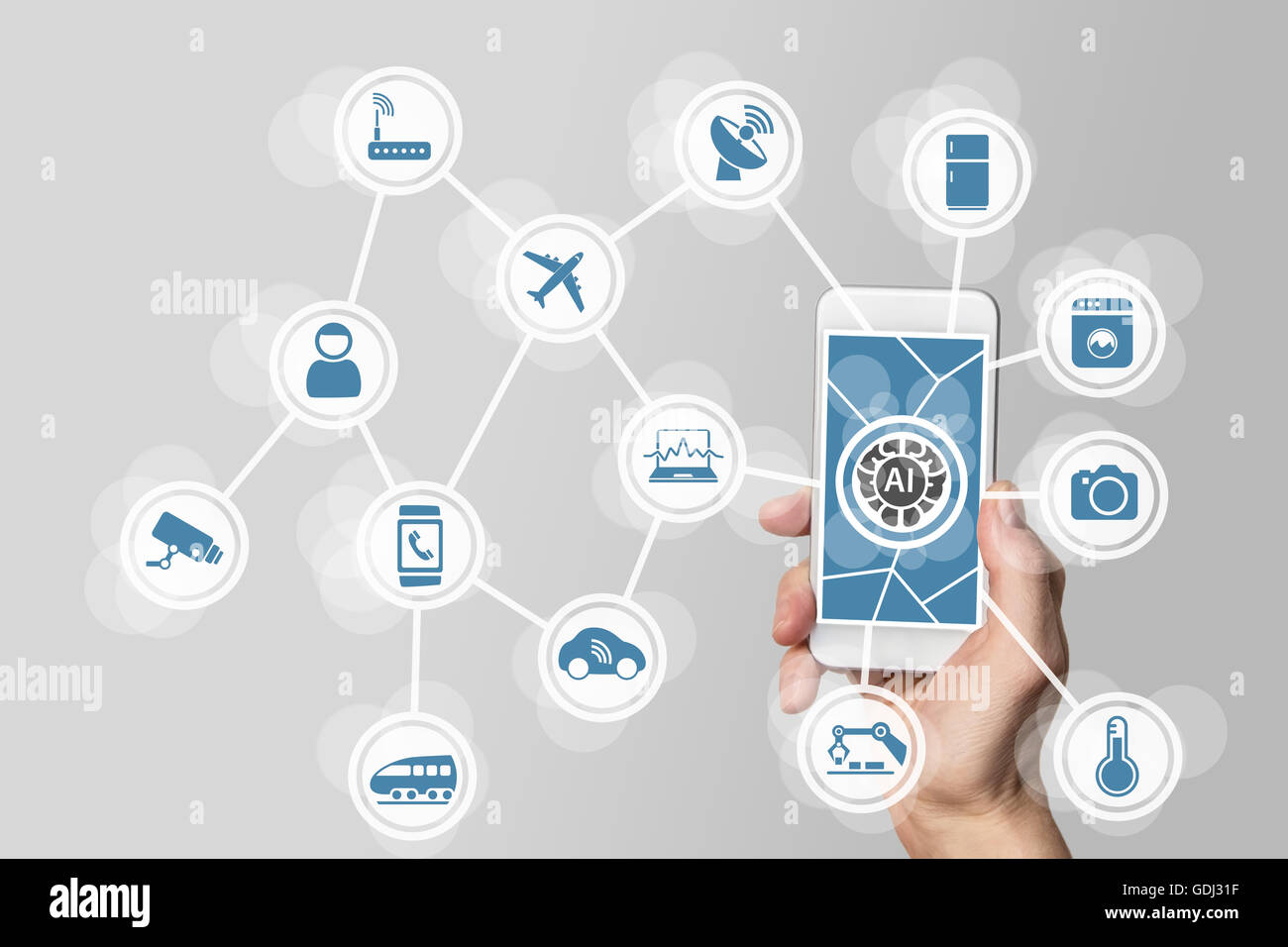 Artificial intelligence (AI) to manage internet of everything (IOT) networks - Stock Image