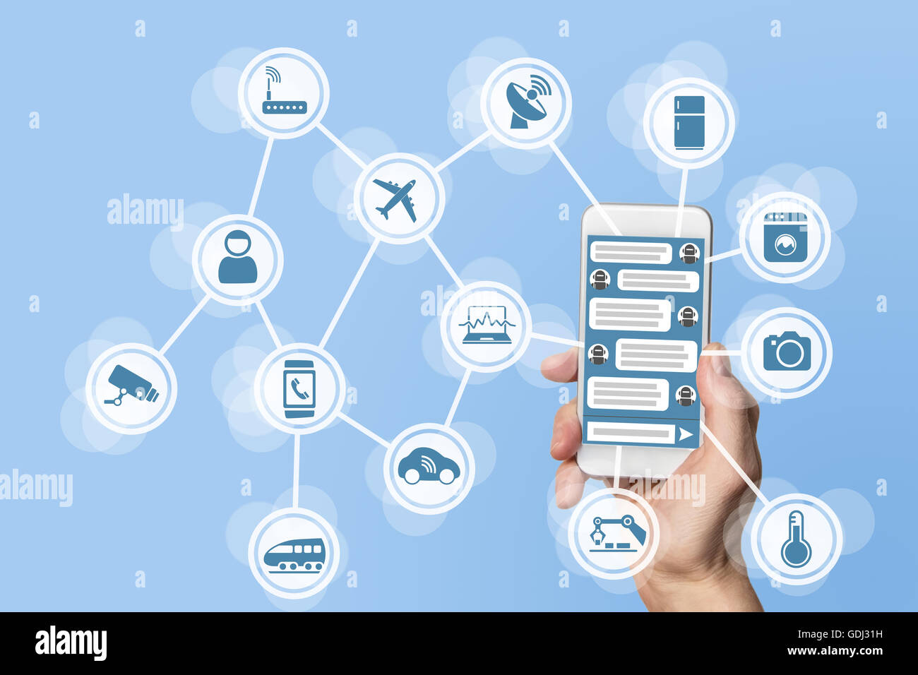 Chatbot concept for internet of things (IOT) - Stock Image