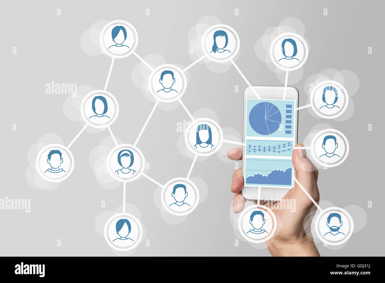 Big data dashboard to analyze social media and network data - Stock Image