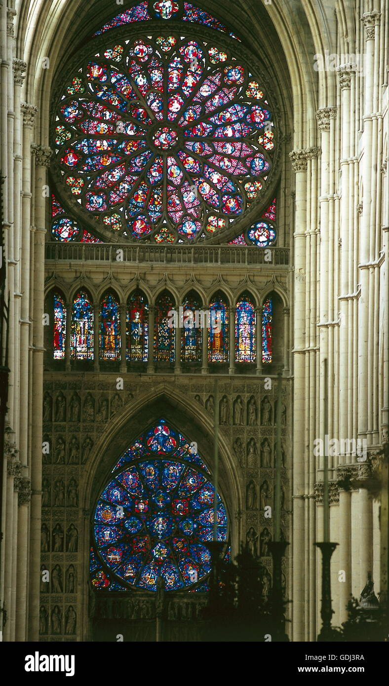 geography / travel, France, Reims, cathedral Notre-Dame, glass window from Marc Chagall, interior view, - Stock Image