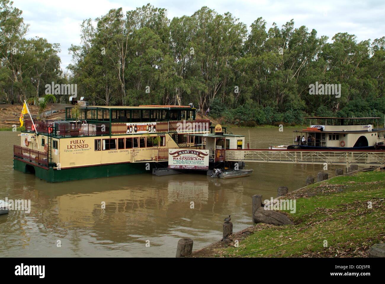 geography / travel, Australia, transport / transportation, navigation, paddle steamer on Murray River, Echuca, - Stock Image