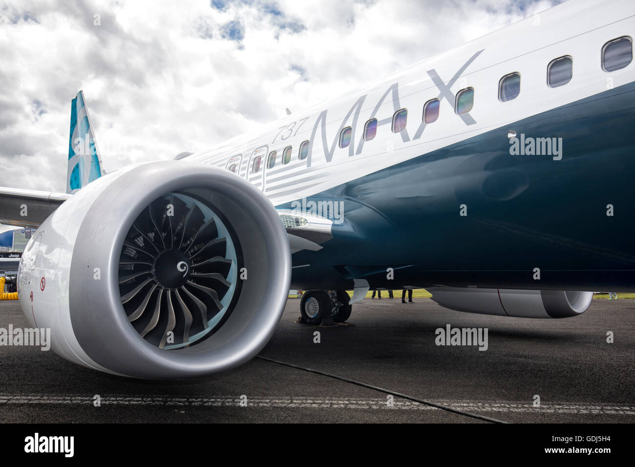 The new Boeing 737 Max and CFM International LEAP engine the Farnborough Airshow 2016 - Stock Image
