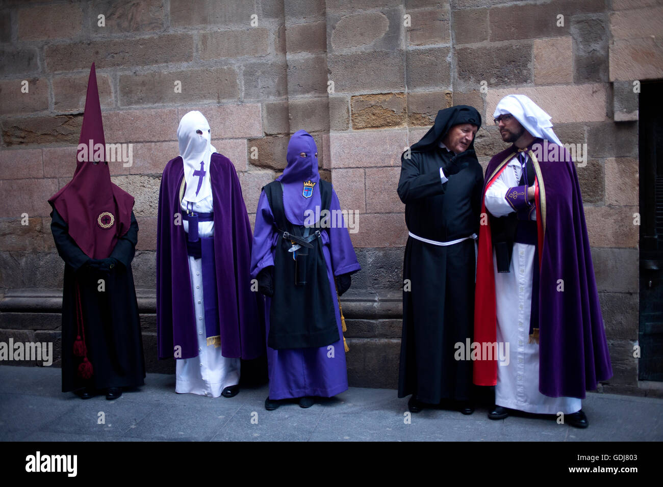 Penitents from different brotherhoods during an Easter Holy Week procession in Astorga, Castilla y Leon, Spain. - Stock Image