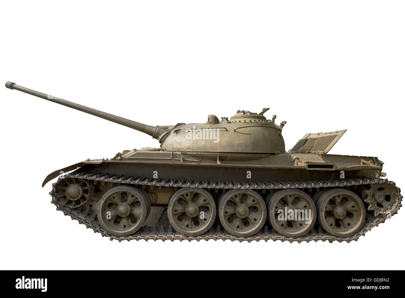 Reinforced self-propelled vehicle on tracks with powerful weapons on a white background - Stock Image