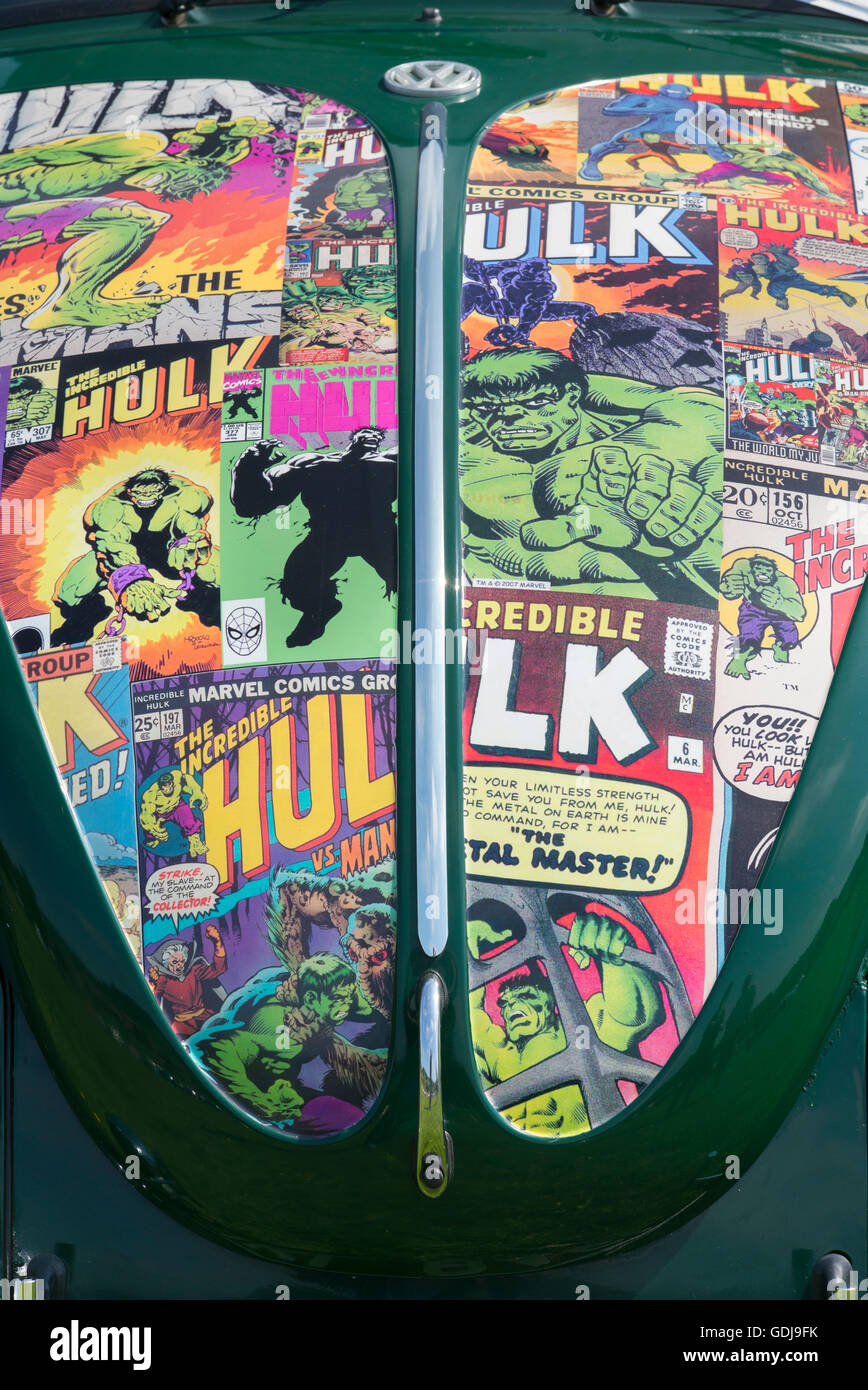 Incredible Hulk Comic Covers On The Bonnet Of An Old Vw Beetle Car At Stock Photo Alamy