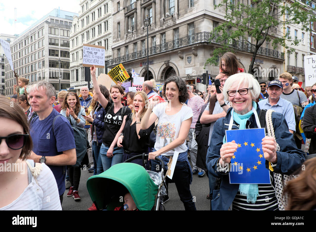 'March for Europe'  Remain voters families march protest demo to Parliament Square In London UK 23 June - Stock Image