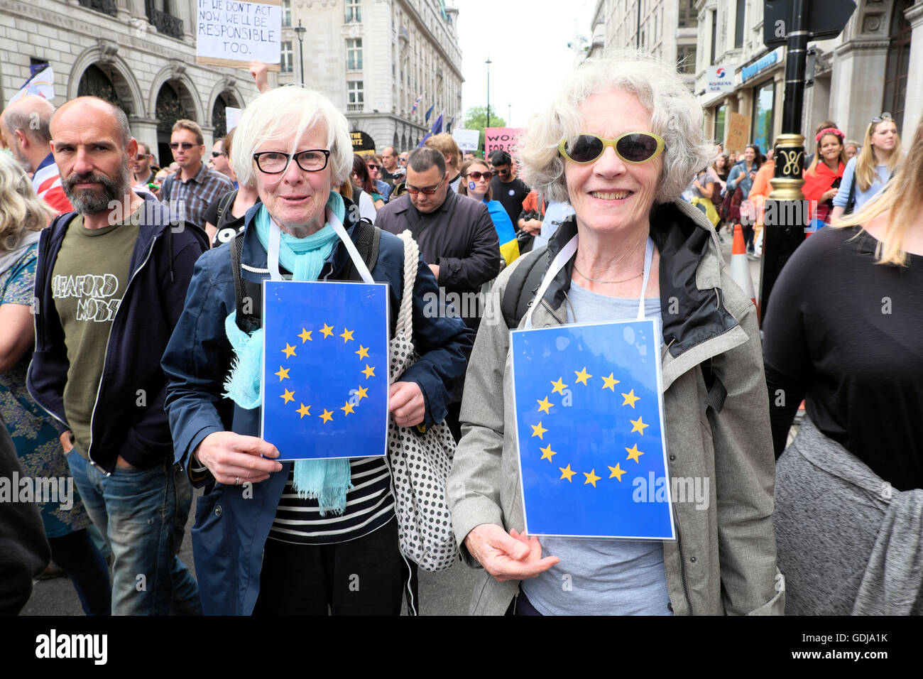 'March for Europe'  Remain voters folder women march protest demo to Parliament Square In London UK 23 June - Stock Image