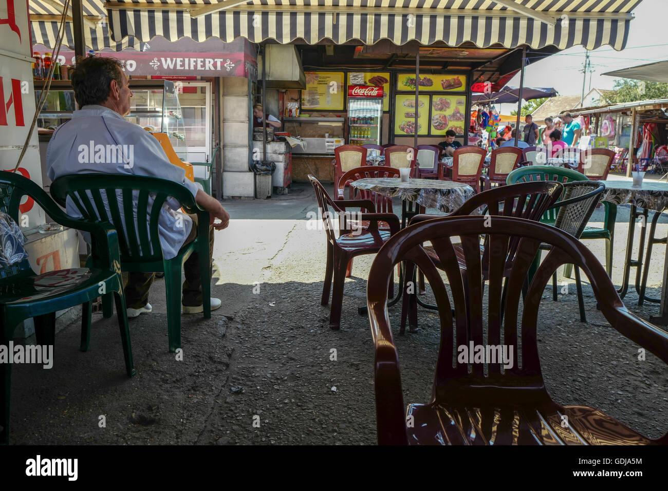Cafe in Pancevo flea market, near Belgrade Serbia Stock