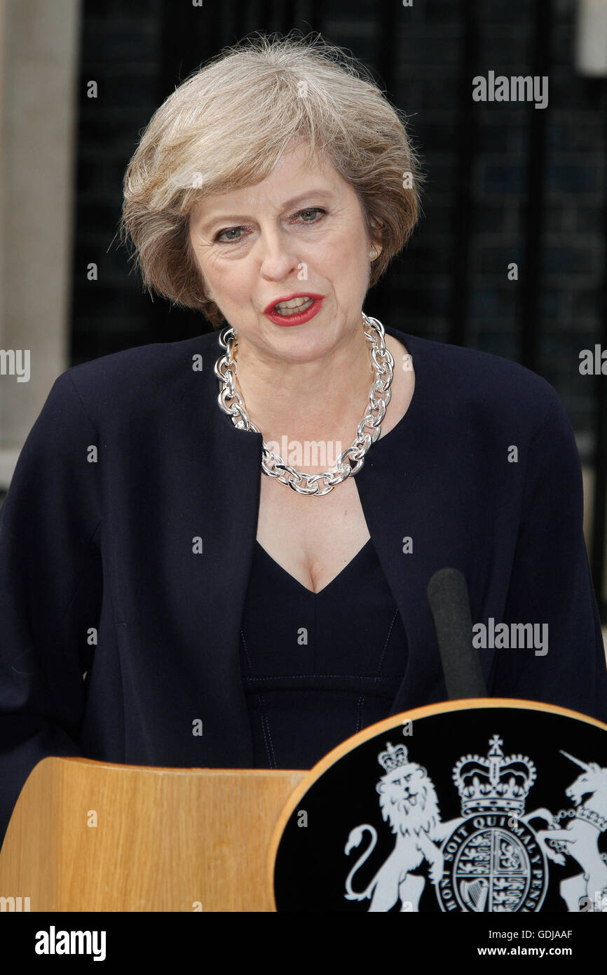 Theresa May makes her first speech as Prime Minister to a waiting media after being asked by the Queen to form a - Stock Image